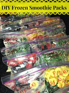 Frozen smoothie Packs! It takes all the guess work and WORK out of making smoothies, especially on the go with no time to prep. Just prep the bags with your favorite smoothie ingredients and freeze for later! Smoothies With Frozen Fruit, Easy Smoothies, Freezing Smoothies, Ninja Blender Smoothies, Whole 30 Smoothies, Green Smoothies, Freezer Smoothie Packs, Smoothies Detox, Protein Smoothies