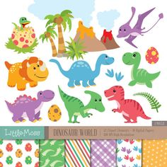 Dinosaur Digital Clipart and Papers by LittleMoss on Etsy