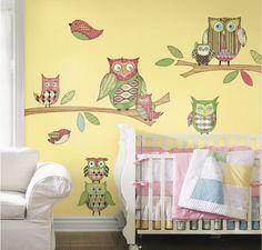 Beautiful Hoot Birds Cartoon Pictures for Nursery Kids Bedroom Wall Stickers Murals Design Ideas Colorful and Cute Wall Stickers for Kids Be...