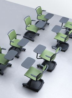 Senator AdLib Chair 360 degree left to right tablet chair with folding tablet arm that goes behind the chair.