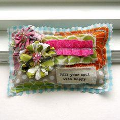 Lavender Sachet, Sachet, Word Sachet, Flower  Sachet, Sachet Pillow, Appliqued Sachet, Happy Soul No. 223. $6.50, via Etsy.