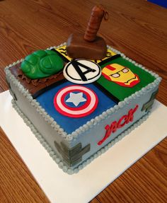 Avengers Birthday Cake Hulk, Iron Man, Thor, and Captain America.
