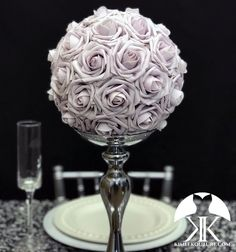DUSTY LILAC Pomander made with PREMIUM Real Touch Roses. Pick Rose Color!!  You will be amazed at how real and stunning the flowers look. A colored ribbon to match your wedding theme can be added if requested. These look amazing hanging from branches, hooks, chairs in your ceremony and reception, Crown Centerpiece, Red Centerpieces, Mickey Centerpiece, Silver Wedding Decorations, Engagement Party Decorations, Engagement Gifts, Engagement Photos, Dusty Rose Wedding, Purple Wedding