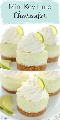 These Mini Key Lime Cheesecakes feature an easy homemade graham cracker crust topped with a smooth and creamy key lime cheesecake filling. Their size make them a perfect fit for parties! These mini key lime cheesecakes are the perfect dessert for any time Mini Cheesecake Cupcakes, Mini Cheesecake Recipes, Mini Cheesecakes, Cupcake Recipes, Baking Recipes, Key Lime Cupcakes, Keylime Cheesecake Recipe, Homemade Cheesecake, Cheesecake Crust Recipe Without Graham Crackers
