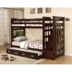 THIS IS IT!!!!!         ACM- 10170 Espresso Finish Tiwn/Twin Bunk Bed (TRUNDLE INCLUDED)