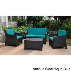 Lisbon Resin Wicker International Caravan Outdoor Settee Group with Corded Cushions (Set of 4) | Overstock™ Shopping - Big Discounts on International Caravan Sofas, Chairs & Sectionals