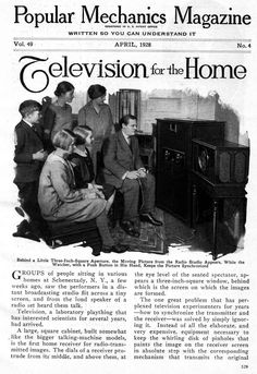The television was first introduced in the United States in 1928. It's screen was about three square inches and the radio had to be played in tune with the viewing, since the television did not yet produce sound. Here is a magazine article highlighting what exactly the television was and how it worked, since it was not widely adopted yet.