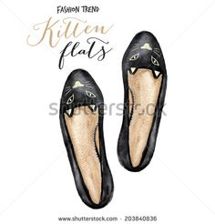 Ladies shoes. Watercolor fashion illustration. - stock photo