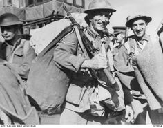 1941-04. SOUDA BAY, CRETE. ONE OF THE LUCKY ONES EVACUATED FROM GREECE. LANCE CORPORAL R. WILLOTS GOT HIMSELF AND HIS KIT SAFELY AWAY FROM GREECE.