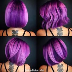 """Playing with Purple"" Yes, I can participate in the ModernSalon contest for . Vivid Hair Color, Hair Color Purple, Vivid Colors, Pretty Hairstyles, Bob Hairstyles, Purple Bob, Pink Lila, Pulp Riot Hair, Neon Hair"