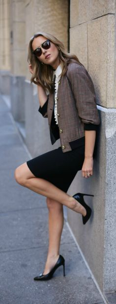 plaid bomber jacket with brass buttons, black pencil skirt, ivory victorian  blouse with covered 2cc37ddb28