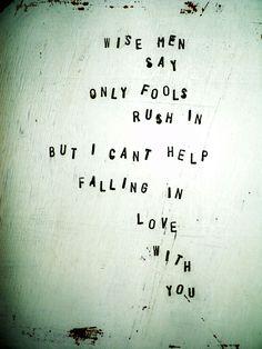 hand-stamped stool by Love & Rust  Elvis Presley, Wise men say ....