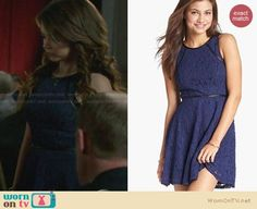 Haley's blue lace dress with leather trim on Modern Family. Outfit Details: http://wornontv.net/28057 #ModernFamily #fashion