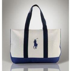 1606f40149 Ralph Lauren Big Pony Canvas Handbag Blue Black White is on clearance sale