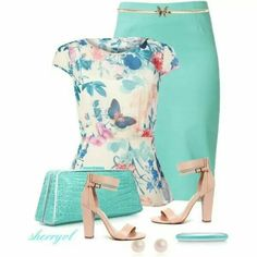 Designer Clothes, Shoes & Bags for Women Classy Casual, Classy Outfits, Pretty Outfits, Cute Outfits, Girly Outfits, Sheer White Blouse, Blue Blouse, Fashion Outfits, Womens Fashion