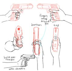 """fucktonofanatomyreferences:  A mouth-watering fuck-ton of gun references.  Before you draw any gun, be absolutely certain you are familiar with the parts of a gun. That sounds cliché and dumb, but if you end up wondering """"Why does this thing look so shitty?"""" it's probably 'cause you don't know how a gun works. Know how it moves and what fits in where.And please know where thehands are placed when firing!!! If you hold a gun at thewrong place, you can lose a finger!Don't know…"""