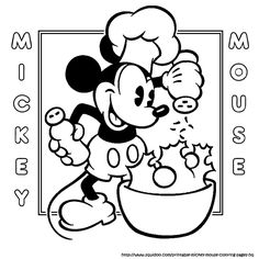 cooking mickey coloring page