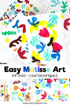 Easy Matisse Art Project for Kids: The project can be adapted or extended to suit children of all ages (and any adults needing an outlet for some self-expression!) and helps them to explore colour and shape in a really fun, free and spontaneous way. Henri Matisse, Matisse Kunst, Matisse Art, Art Activities For Kids, Preschool Art, Montessori Art, Montessori Elementary, Easy Art For Kids, Kindergarten Art Projects