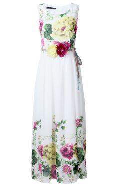Yellow White Sleeveless Applique Floral Belt Dress