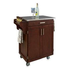 Home Styles Cuisine Stainless Top Kitchen Cart - BedBathandBeyond.com  $279.99 white & black