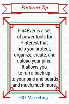 #PinterestTipoftheDay Pin4ever is a set of Pinterest tools that help you protect, organize and upload your pins. It allows you to run a back up to your pins and boards, finds broken links on your pins, so you can fix them and much, much more https://pin4ever.com/ Click the image to see more #PinterestTips for business