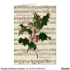 vintage christmas card poinsettia