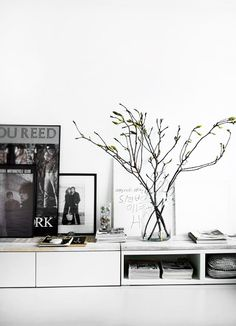 IKEA hack: Lay an Ikea kitchen cabinet frame on its side and add a wooden plank for a low bench/media console. Room Inspiration, Interior Inspiration, Ikea Kitchen Cabinets, Muebles Living, Deco Design, Scandinavian Home, White Houses, Interiores Design, Home Living Room
