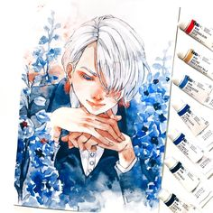 I do watch Yuri on ICE too😍 but all my fan art goes to and I will be able to show it only. in March? so I decided to… Manga Watercolor, Watercolor Paintings, Fire Art, Cute Art Styles, Art And Illustration, Art Sketchbook, Art Tutorials, Cute Drawings, Art Sketches