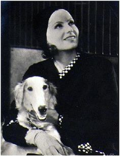 Greta Garbo with her Borzoi ... Brought to you in part by StoneArtUSA.com ~ affordable custom pet memorials since 2001