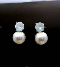 Buy Now Bridal earrings bridesmaid gift wedding jewelry... Bridesmaid Earrings, Wedding Earrings, Bridesmaid Gifts, Wedding Jewelry, Pearl Stud Earrings, Pearl Studs, Pearl Cream, White Opal, Gift Wedding