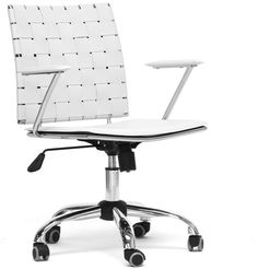 Wholesale Interiors ALC-1866C-white-OC Vittoria White Leather Modern Office Chair - Each