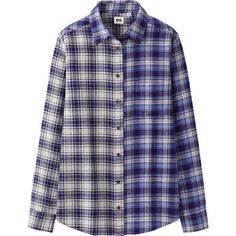 UNIQLO Women Flannel Check Long Sleeve Shirt ($9.90) ❤ liked on Polyvore featuring tops, shirts, navy, blue top, blue shirt, blue checkered shirt, long sleeve flannel shirts and long sleeve tops