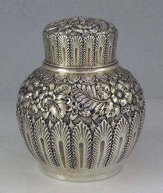 Antique 'Repousse' Silver Tea Caddy, Tiffany & Co Vintage Silver, Antique Silver, Bronze, Tea Strainer, Teapots And Cups, Teacups, Tea Caddy, Tea Service, Objet D'art