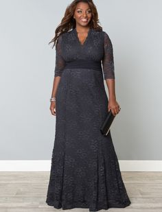 Screen Siren Lace Gown - Twilight Grey. Mother of the Bride, plus size
