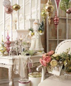 Christmas table display, pinks & greens