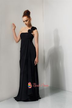 black dresses with one shoulder with flowers - Google Search
