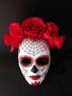 Halloween Catrina Masquerade mask, Paper mache skull , woman Carnival Halloween costume, Day of the Mascara Papel Mache, Ceramic Mask, Porcelain Ceramics, Porcelain Tiles, Porcelain Jewelry, Porcelain Doll, Day Of The Dead Mask, Mexican Mask, Paper Mache Mask
