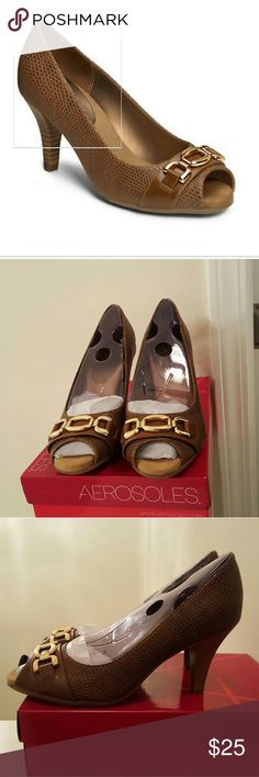 NIB! AEROSOLES GOOD LUX PUMPS Color: Dark tan with gold hardware                                ***** PRICE IS FIRM! *****                               ****** I DON'T TRADE ***** AEROSOLES Shoes Heels