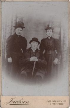 Cabinet photo taken in Liverpool around 1890s by Jackson studio located at 389 Stanley Road. A great photo of a victorian old man along with his two daughters.