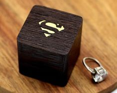 Wooden ring box with a bow for proposals with personalization Engagement ring box Diy Engagement Ring Box, Wedding Ring Box, Wooden Ring Box, Wooden Boxes, Teak Oil, Black Pillows, Rustic Jewelry, Personalised Box, Wood Rings