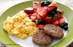 Gourmet Girl Cooks: Low Carb Saturday Brunch - Pepper-Jack Eggs, No-Flip Pancakes & Sausage