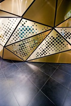 Frivole Prestige perfumery by Theza Architects, Wrocław Poland store design Parametric Architecture, Parametric Design, Facade Architecture, Metal Wall Panel, Metal Panels, Ceiling Design, Wall Design, Booth Design, Architectural Engineering