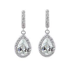 fd5e15b60 Glitzy Rocks Sterling Silver Birthstone Teardrop Dangle Earrings (White -  Zircon - White - April