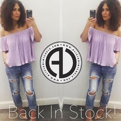 """Your favorite off the shoulder top is back!  #OOTD: Lilly Blouse Hunter Jeans Katrina Heel Ohm Ring  SHOP: http://ift.tt/1rNgIir CODE: """"FREESHIP"""""""