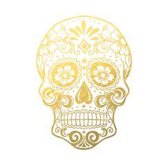 Gold Foil Sugar Skull Print by BebChic on Etsy