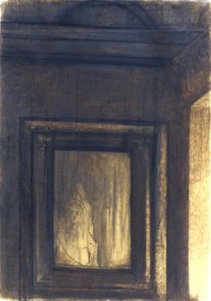 Odilon Redon - Le Miroir hanté, 1980. Charcoal on buff paper