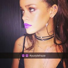 Absolutely love this lip color on Rihanna!! Currently sold out...hoping they will restock soon. Link below to purchase purplehaze and other colors.   http://www.thefashionjunkee.com/category-s/107.htm