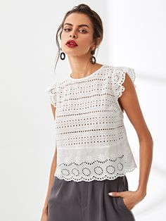 COLROVIE Eyelet Embroidery Ruffle Shoulder White Blouse Shirt 2018 Summer Workwear Hollow Out Blouse Elegant Women Clothing Petal Sleeve, Ruffle Sleeve, Plain Tops, Eyelet Top, Elegant Woman, Types Of Sleeves, Pretty Outfits, Blouse Designs, Blouses For Women