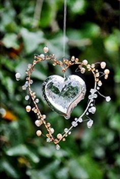 ** Love the heart with wire wrap frame and beads