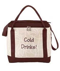"""Convertible Cooler - Khaki Swirl  13""""W x 14""""H x 7""""D  This cooler's got your back! Convertible, padded strap allows you to carry your beverages and cold items backpack style, on your shoulder, or even across your body. Roomy insulated interior is perfect for cold pack, drinks and your moveable feast! Microfiber."""